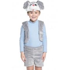Карнавальный костюм серого Зайчика для мальчика, костюм Зайца из облегченного меха, Остров Игрушки