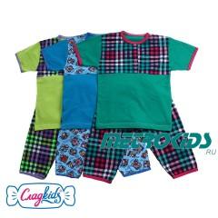 Детская пижама с коротким рукавом, кулир, 100% хлопок, комбинированный рисунок, Сладkids, Россия