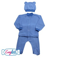 Комплект детский, однотонный, с шапочкой с ушками,  100% хлопок, махра, цвет синий, Сладkids, Россия