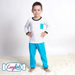 Детская пижама для мальчика, Звездочки, кулир, 100% хлопок, цвет бирюзовый, Сладkids, Россия