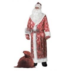Профессиональный костюм Деда Мороза, Дед Мороз  красный сатиновый со снежинками, фирма Батик