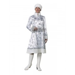 Новогодний костюм Снегурочки для взрослых, белый костюм Снегурочки с серебряными снежинками, Батик