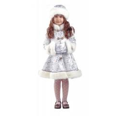 Новогодний карнавальный костюм Снегурочки, детский костюм Снегурочки хрустальной, Батик
