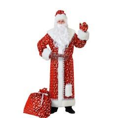 Костюм новогодний Дед Мороз, маскарадный костюм Деда Мороза плюшевый, красный, Батик