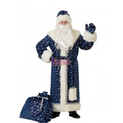 Костюм Деда Мороза, новогодний костюм Дедушка Мороз, синий, Батик