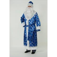 Костюм Деда Мороза, новогодний костюм Дед Мороз классический, сатиновый, синий, Батик