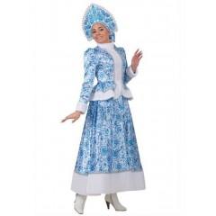 Новогодний костюм Снегурочки с кокошником, очаровательная Снегурочка Гжель с длинной юбкой, Батик