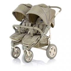 Детская прогулочная коляска для двойни, погодок, близняшек Baby Care Cruze DUO, цвета Oliva Checkers и Red