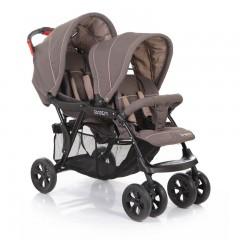 Детская коляска для двойни, близняшек, погодок Baby Care Tandem, цвета красный и серый