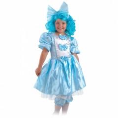 Карнавальный костюм Мальвины, костюм Мальвины с голубым париком, Карнавалия